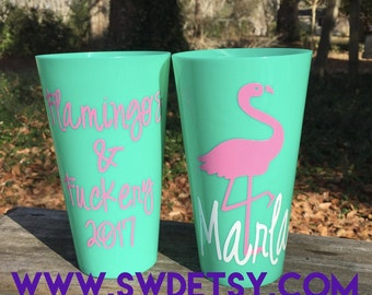 FLAMINGO Bachelorette Tumblers - Set of 4 - Reusable Party Cups personalized on BOTH sides, Bachelorette Party Cups