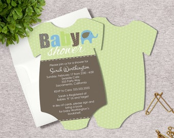 Elephant Baby Shower Invitations - Baby Shower - Gender Neutral - Pick your Qty