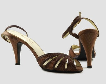 70s Modigliani Brown  Reptile Snake Skin Strappy High Heel Stilettos Dancing Disco Shoes