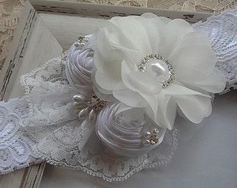 Christening White Headband / Baptism Flowers Headband / Flower girl / White Rolled Flowers  / Photography / Prop.