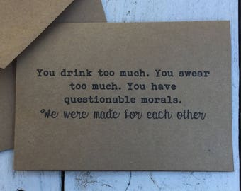 You drink too much, Funny card, naughty cards, inappropriate humor, witty cards, sarcastic cards, for him, for her, funny cards for friends,