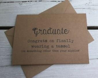 Graduate, tassel, Graduation cards, funny graduation cards, sarcastic graduation cards, college graduation, congrats, graduation tassel