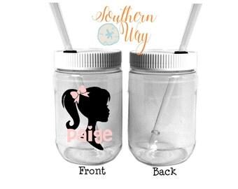 Plastic Mason Jar Cups  - kids party favor - birthday party favor - paper straw - mason jar favor - Barbie - Silhouette Girl