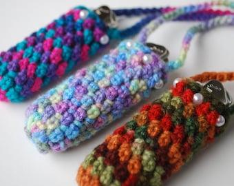 Set of 3 Lighter cozy holder necklace - lighter case - colorful crochet lighter