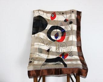 Vintage Semi Sheer Womens Abstract Print Scarf