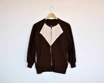 Vintage Brown and Cream Athletic Unisex Sporty Colour Block Zipped Trainer Jacket