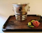French Taittnger Ice Bucket, Champagne Bucket, Mini French Bucket, Aluminum Bucket, Vintage Barware