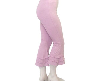 Plus Size Ruffled Cuffed Capris-Yoga Pants-Hand Dyed Organic Cotton/Bamboo Knit-Womens Made to Order-Choice of Color-XL,2X,3X,4X,5X,6X,7X,8X