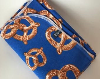 Handmade XL Flannel Receiving blanket / Swaddle blanket - Blue soft pretzel print
