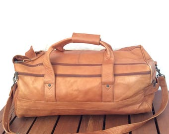 Great Vintage Tan Leather Duffle Bag Weekend Bag Carry On Made in Colombia