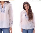 SALE Mexican Top Embroidered Blouse 70s Hippie Boho Shirt FESTIVAL Tunic Peasant Bohemian White Blue Floral Vintage Ethnic Tent Medium Large