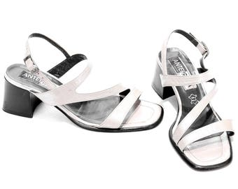 STRAPPY Sandals 90s Heeled Vintage Chunky Block Heel Metallic White Real Leather Square Toe Shoes Summer Slingback US 8.5 , UK 6 , Eur 39