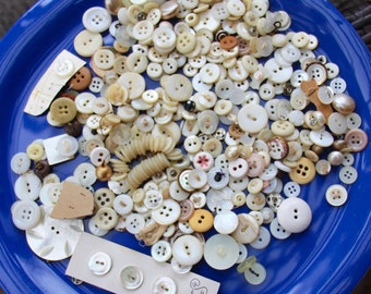 Large lot of white vintage buttons