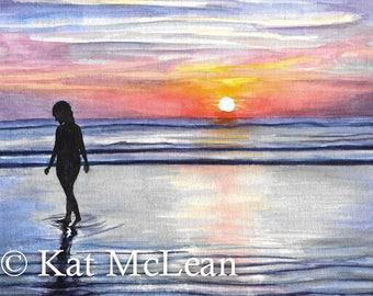 Watercolor - Sunrise Walk - Print on Paper
