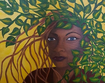 Fine Art Print - Mother Nature - Mother - Nature - Greenery - Wall Art - Home Decor - Matted Prints - African American Woman -