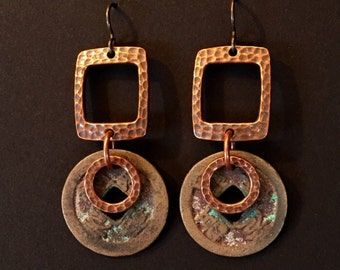 Artisan earrings #16...Ancient Chinese coins with copper