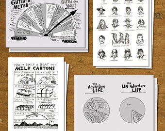 Gutsy Girl Postcard Set - set of 12 / 3 each of 4 designs