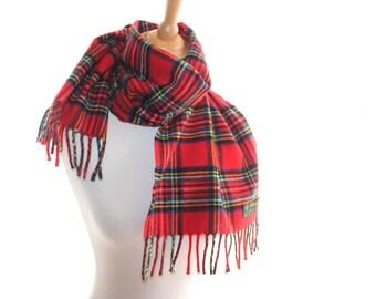 Lambswool tartan scarf, made in Scotland. Tweedvale Royal Stewart tartan scarf. Red plaid scarf