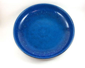 DISCOUNTED : Carstens Tönnieshof ceramic fruit bowl or presentation dish. Glossy blue and brown glaze. West-German pottery 5915-26