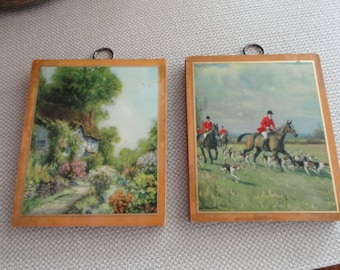 C317)  Vintage Small Lithographs Mounted on Wood wall plaques English Fox Hunt and Cottage