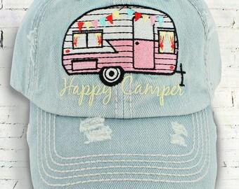 Happy Camper Baseball Cap, Light Denim Baseball Cap, Distressed Camping Cap, Happy Camper Hat, Camping Baseball Cap