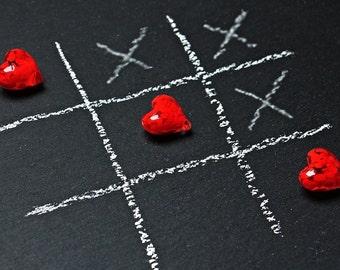 Tic tac toe heart game cross stitch pattern chart, modern cross stitch, colorful pattern, jpeg pattern, needlecraft pattern, Valentine day