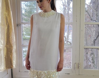 Vintage Mod White Party Dress/Vintage 1960s/Shimmering Sequins/Susan Small Chiffon Cocktail Party Dress/Size Sma