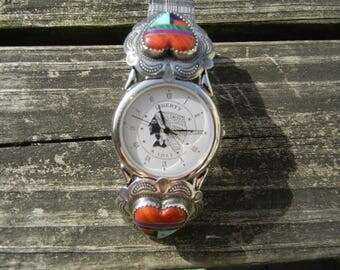 Vintage American Indian Head Liberty Watch with Turquoise and Coral Hearts