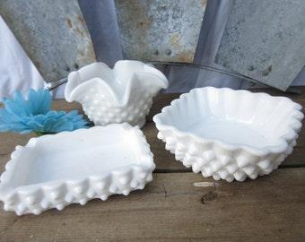 Fenton Hobnail Milk Glass Bowls/Ruffled Milk Glass Candy Dish/Milk Glass Christmas Olive or Nut Bowls/