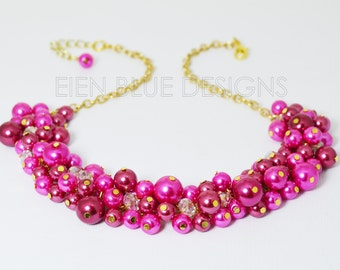 Hot Pink Cluster Necklace, Chunky Hot Pink & Fuchsia Necklace, Hot Pink Pearl Necklace, Hot Pink Pearl Jewelry, Hot Pink Bridesmaid Necklace