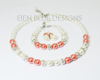 Ivory & Coral Pearl Jewelry Set, Coral and Ivory Jewelry, Ivory Pearl Necklace, Coral and Ivory Wedding, Ivory/Coral Pearl Strand Necklace