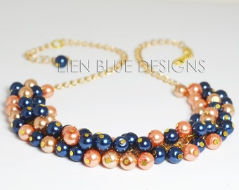 Coral, Navy and Gold Pearl Necklace, Blue & Coral Pearl Necklace, Pearl Cluster Necklace, Chunky Pearl Necklace, Golden Cluster Necklace