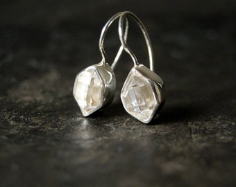 Clear Herkimer Diamond Drop Earrings in Polished Sterling Silver