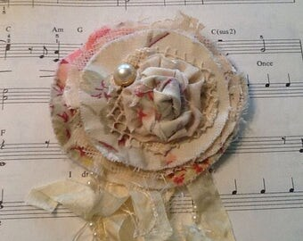 Lace and fabric flower pin, tattered, shabby chic, romantic