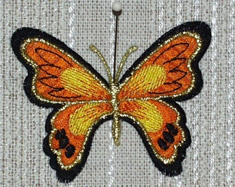 "Iron on Applique 3 Butterflies Orange, Yellow and Black 3 "" x 2.25""  Super Cute   Ships Free Inside US"