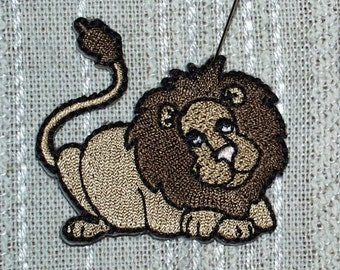 "Iron on Applique Set of 5 Brown Laying Lions Applique Brown, Tan, Black and White   2  1/8"" x  2   1/8"" Super Cute   Ships Free Inside US"