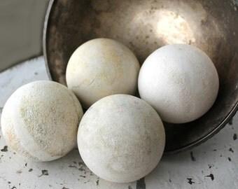 4 vintage reclaimed stone balls, limestone water filtration spheres, limestone balls, marble balls, white balls, river balls