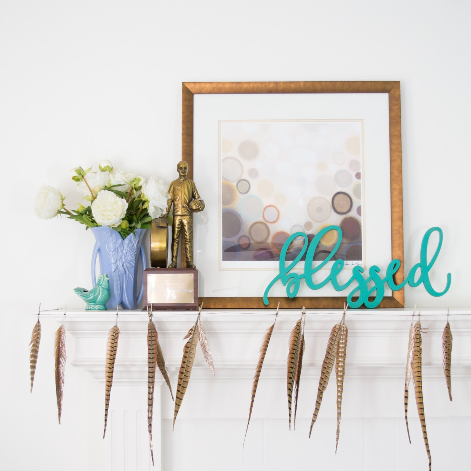 Blessed wood wall words sign custom wooden word sign wood zoom amipublicfo Choice Image