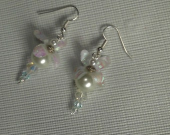 Ivory Pearl Earrings, Swarovski AB Faceted Crystals and Gossamer Silk Flower Earrings, Wedding, Bridal, White Earrings,  Spring Bridal SALE