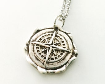 Silver Compass necklace, wax seal compass, direction, wanderlust