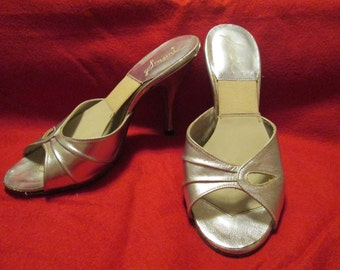 1950's Ladies Silver MULES/Spring-a-la-tors by SCASSINI