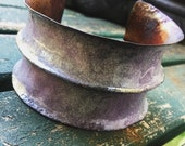 Rustic enamelled white and purple cuff, foldformed anticlastic  | anticlastic cuff, enamelled bangle, hand wrought, copper cuff