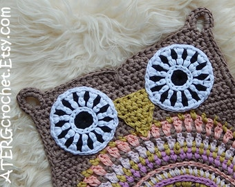 OWL RUG 'TAUPE' by ATERGcrochet (ready to ship)