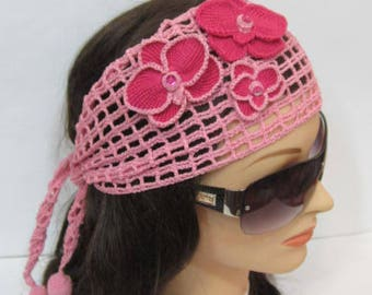 Orchids Summer Headband, Fuchsia Orchid Headband, Pink Orchid Beach Hairband, Lace Head Bands for Women Summer, Flower Headband with Orchid