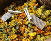 Marigold Garlands. Farm grown marigold flowers hand strung to grace your home, altar, special event.