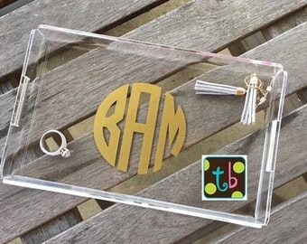 Personallized Monogram Catch All Acrylic Tray Jewelry Holder