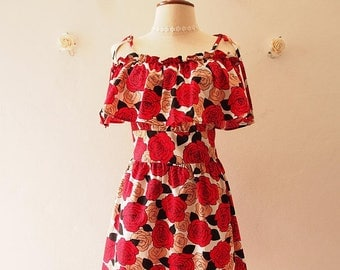 Clearance SALE Floral Sundress Red and Black Floral Rose Stunning Rose Queen Straps Drop Shoulder Dress Summer Dress Date Dinner Holiday ...