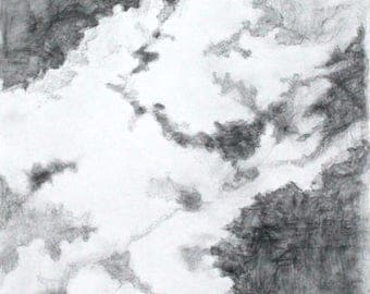 "Graphite Drawing, Pencil Work on Paper, Clouds, Sky, Original Art ""Cloud Study"""