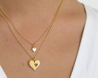 gold mother daughter Charm Necklace