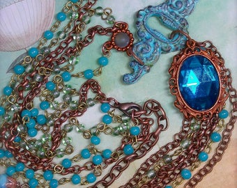 Teal and Gingerbread, BSue by 1928, Aqua Rosary Chain, Multi Chain, Pendant with Tassel, Teal Cabochon, Verdigris Escutcheon, Patina Pendant
